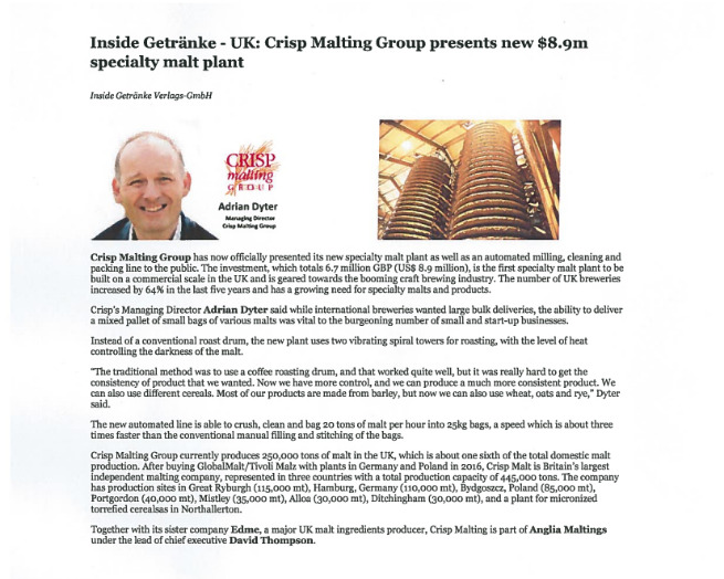 Article on Crisp Malting Group investment in a new specialty malt plant