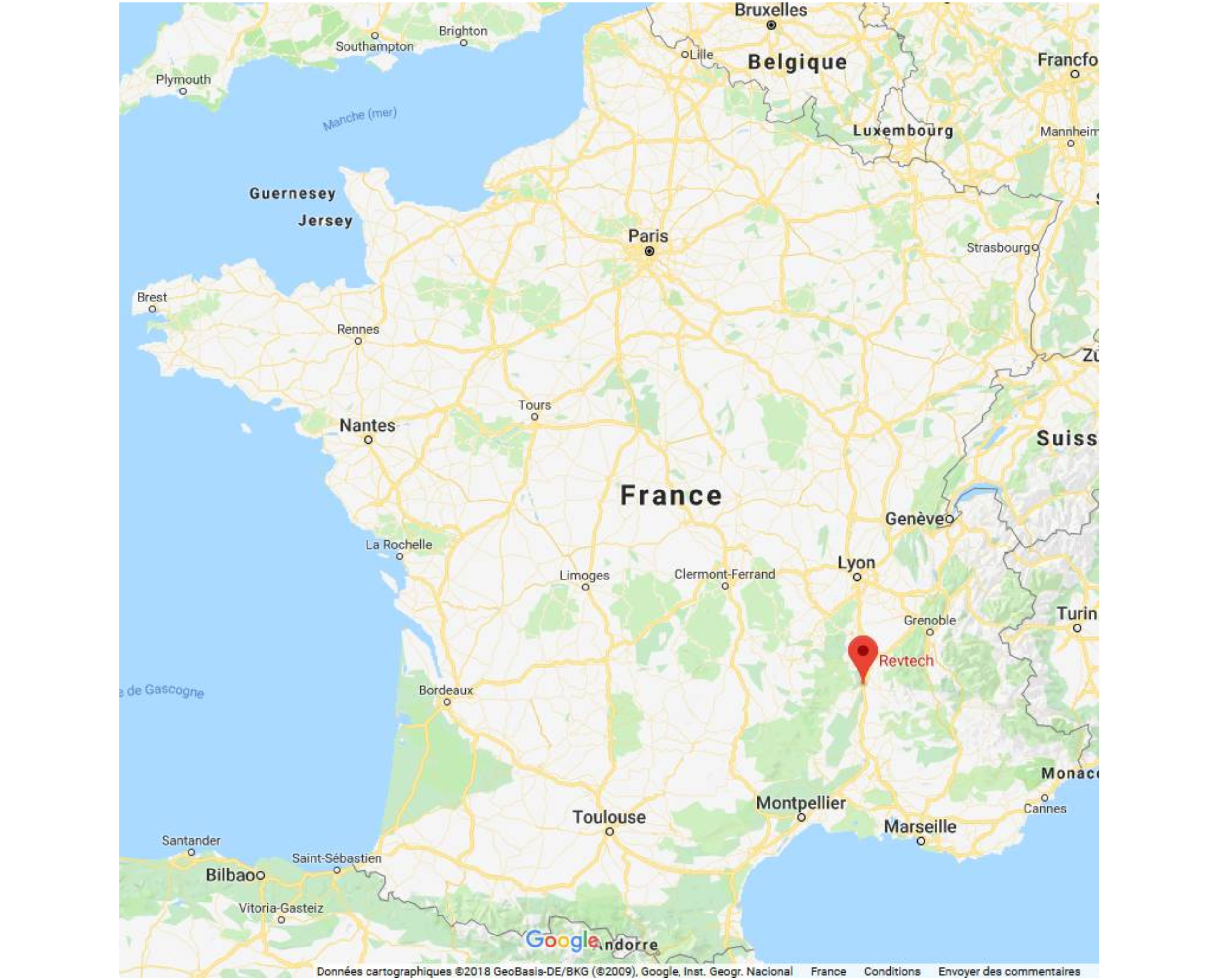 Map with location of Revtech France