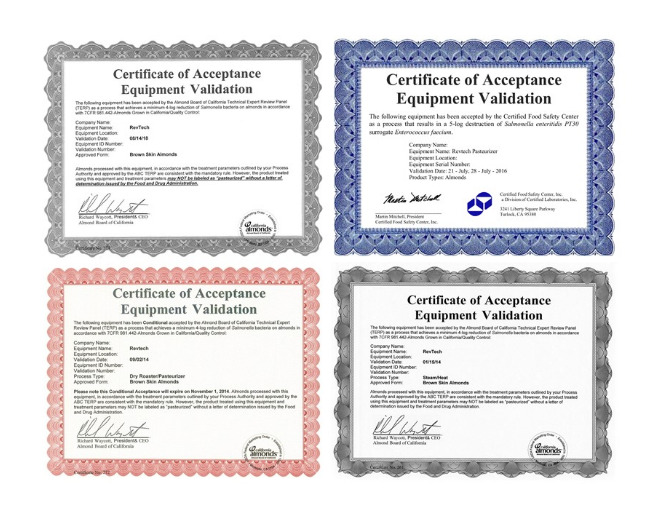 Validation certificates