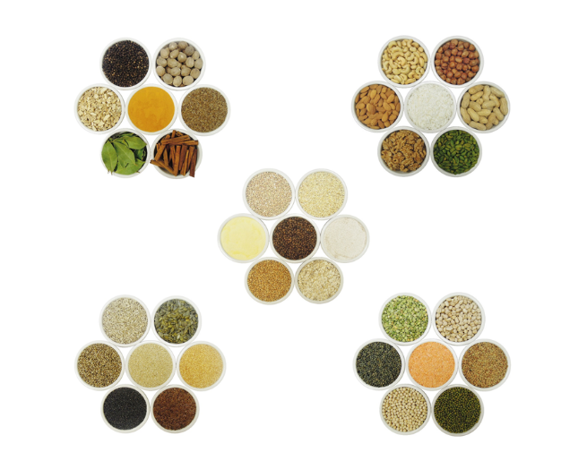 Cereal products, nuts, seeds, herbs, spices, pulses