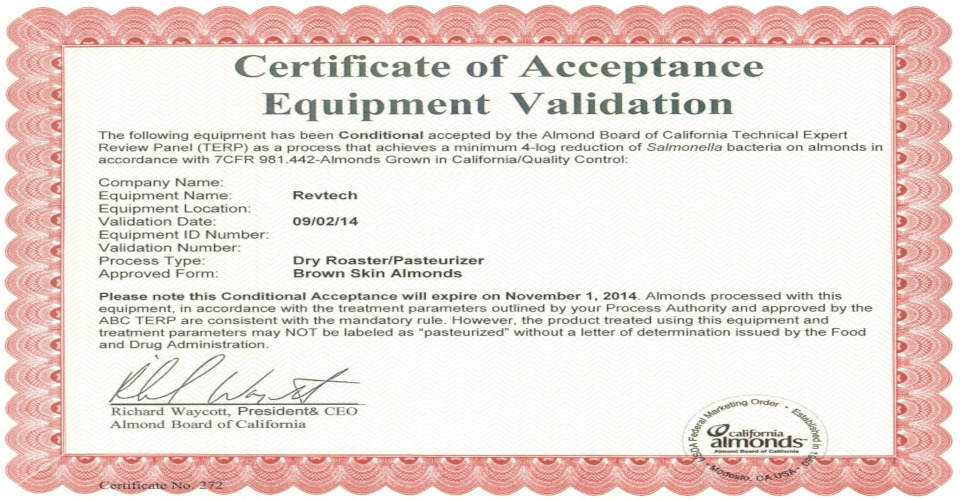 Validation certificates Revtech technology